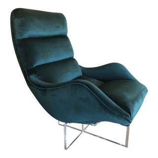 Vladimir Kagan Green Velvet Swivel Lucite Lounge Chair