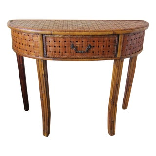 Vintage Woven Bamboo Demi Lune Table