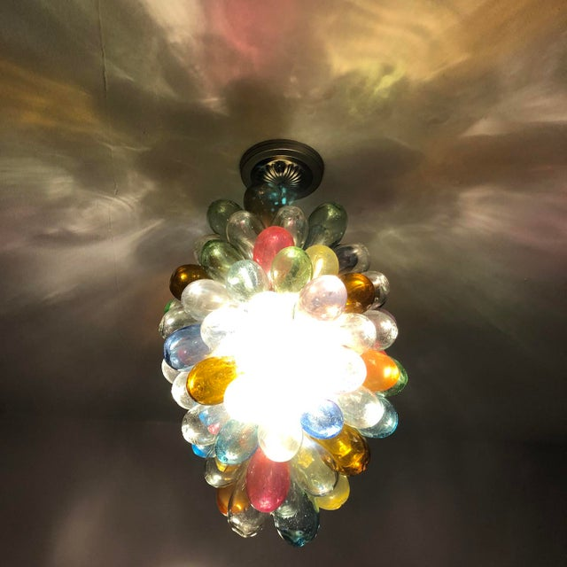 Metal Stained Hand-Blown Glass Colorful Light Fixture For Sale - Image 7 of 12