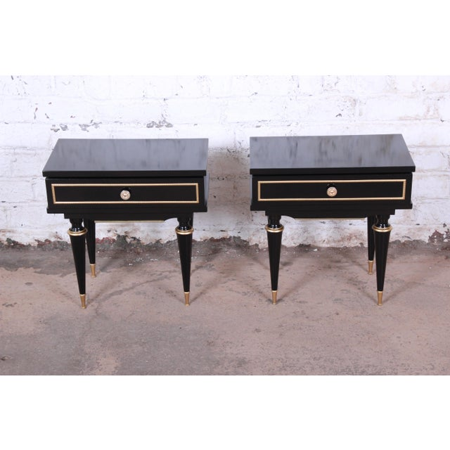 French French Mid-Century Modern Ebonized Wood and Brass Nightstands / End Tables - a Pair For Sale - Image 3 of 13