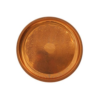 Etched Round Copper Tray For Sale