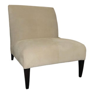 Fendi Casa Off White Suede Slipper Chair For Sale