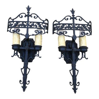 English Gothic Style Bronze Finish Sconces - a Pair