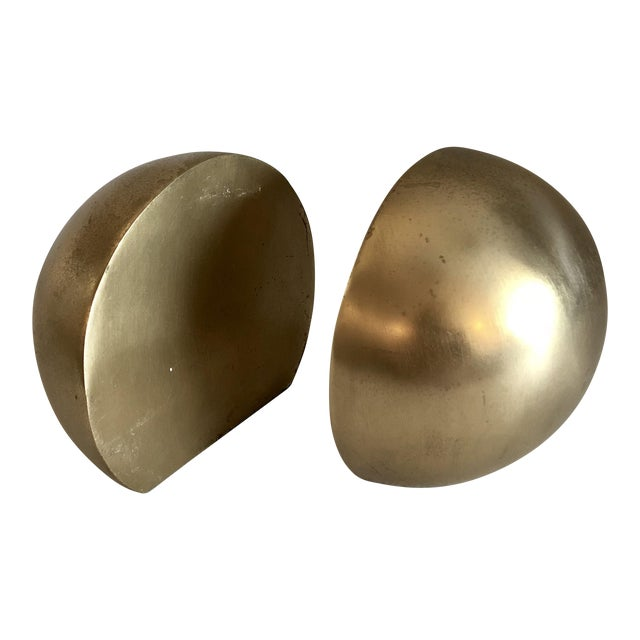1980's Brass Mid Century Half Sphere Bookends - A Pair For Sale