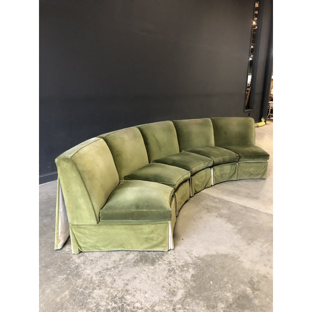 This vintage sectional is such a stunning unique piece, the perfect shade of earthy green, high quality velvet, lined with...