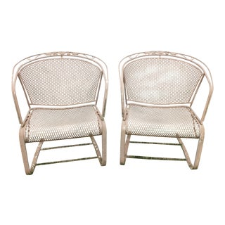Barrel-Back Wrought Iron Mesh Spring-Rocker Chairs - A Pair For Sale