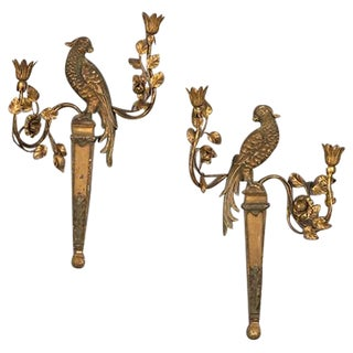 1920s French Bagues Style Carved and Gilded Wood Parrot Sconces - a Pair