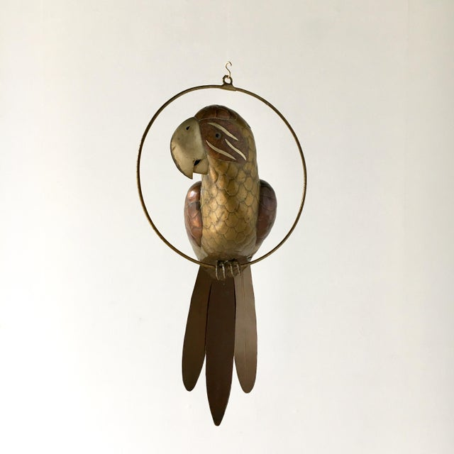 Brass Copper and Brass Parrot by Sergio Bustamante 1960s For Sale - Image 7 of 7