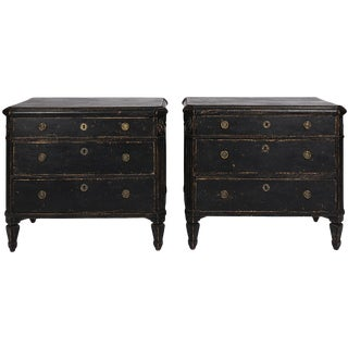 Pair of Black Painted Dressers For Sale