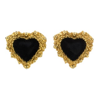 Christian Lacroix Paris Heart Clip Earrings Gilt Metal & Black Velvet For Sale