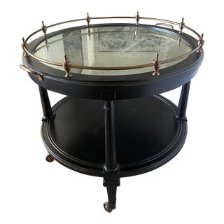 Hickory Chair Furniture Co. Round Traditional Mirrored Top Side Table For Sale