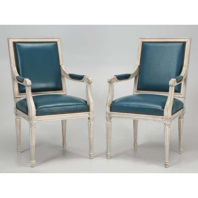 French Louis XVI Style Arm Chairs- A Pair For Sale - Image 3 of 4