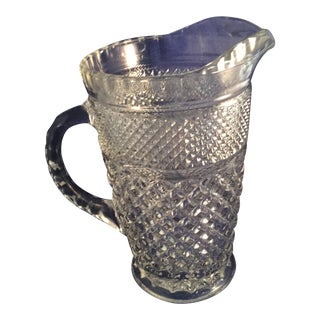 Vintage Diamond Cut Water Pitcher, Weighs 6 lbs For Sale