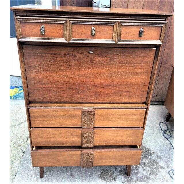Mid-Century Modern 1960s Scandinavian Modern Bassett Mayan Secretary Desk For Sale - Image 3 of 6