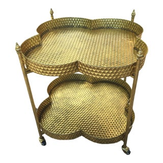 Metal Gold Clover Shaped Bar Cart For Sale