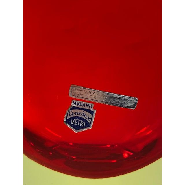 "1965 Antonio Da Ros Cenedese ""Borraccia Ovale"" Sommerso Red Vaseline Glass Vase, Signed For Sale In Providence - Image 6 of 12"
