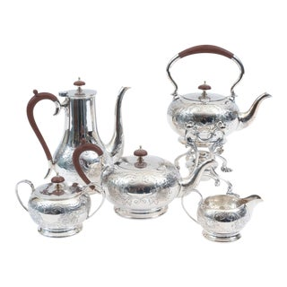 English Silver Plate With Wood Handle Five-Piece Tea or Coffee Service For Sale