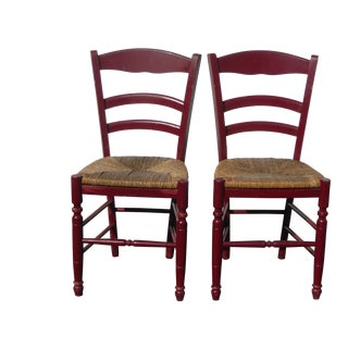 Vintage Mid Century French Country Rush Seat Red Side Chairs- A Pair For Sale