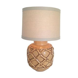 Oversize 1960s Ceramic Bamboo Lamp & Shade For Sale