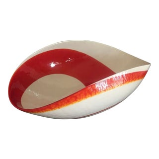 Murano Glass Yalos Casa Flame Red White Folded Bowl For Sale