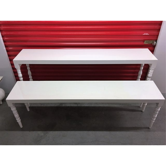 White Lacquer Hallway Tables - A Pair - Image 5 of 7