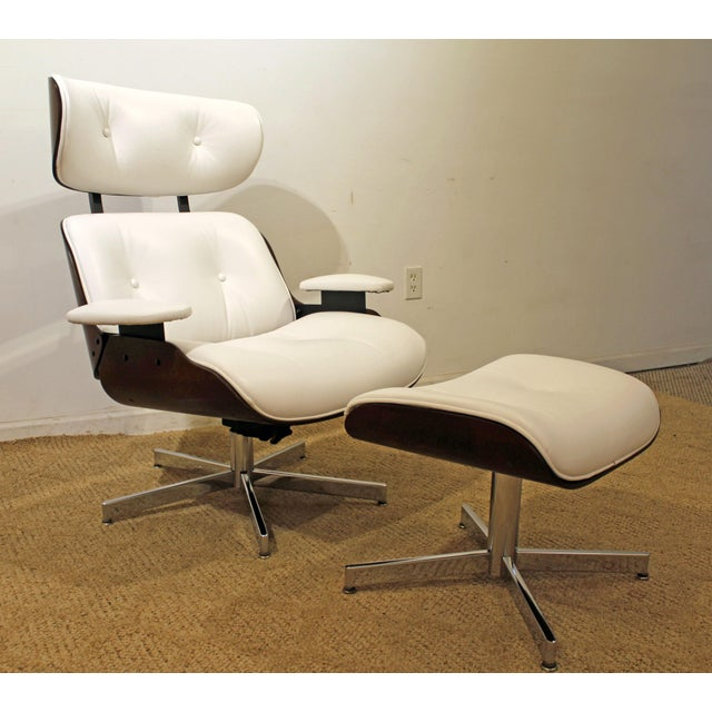 Brown Mid-Century Danish Modern Selig Eames Leather Swivel Lounge Chair/Ottoman-signed For Sale - Image 8 of 8