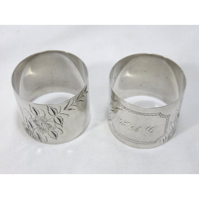 Large Antique Sterling Silver Napkin Rings - A Pair For Sale In Boston - Image 6 of 7