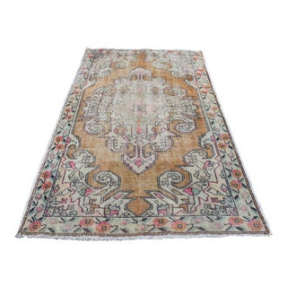 Faded Antique Turkish Oushak Area Rug - 4′5″ × 7′3″ For Sale