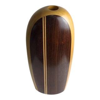 1980s Mid-Century Modern Paul LaMontagne Studio Art Turned Wood Vase