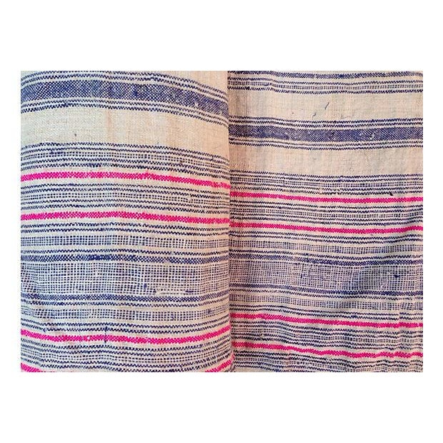 Handwoven Striped Linen Fabric - 10.6 Yards - Image 2 of 5