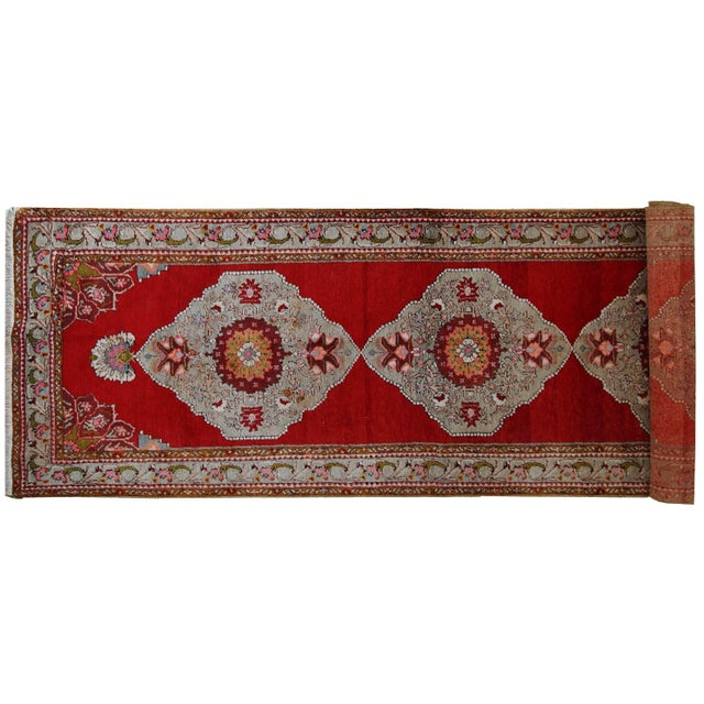 1940s Handmade Vintage Turkish Oushak Runner - 3′7″ × 11′1″ For Sale - Image 4 of 10