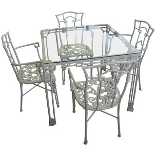 Faux Bamboo Cast Aluminum White Table and Chairs Patio Set by Kessler - a Set of 5 Items For Sale
