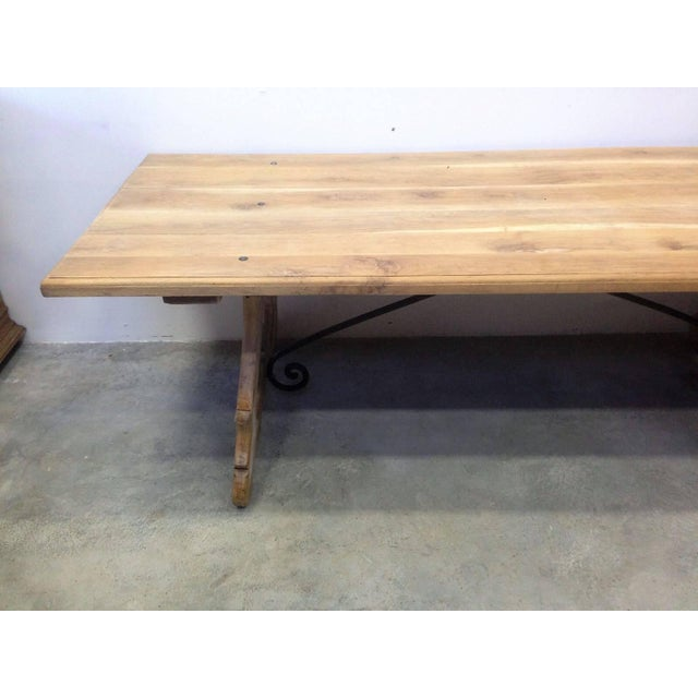 Mid 19th Century 19th Century Spanish Farm Trestle Lyre Leg Dining Room Table With Forged Iron For Sale - Image 5 of 11