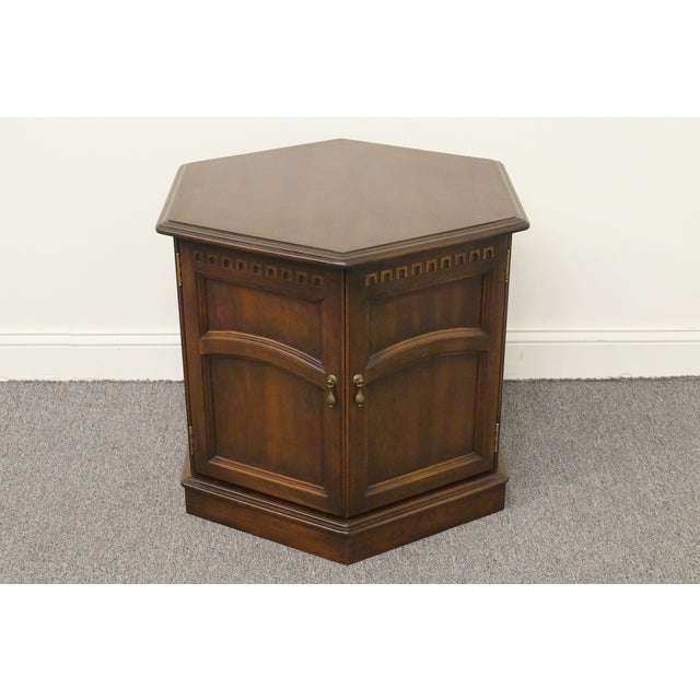 Late 20th Century 20th Century British Colonial Kling Solid Cherry Hexagonal Storage End Table For Sale - Image 5 of 13