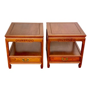 Vintage Ricardo Lynn & Co Teak Chinoiserie Nightstand Side Tables - a Pair For Sale