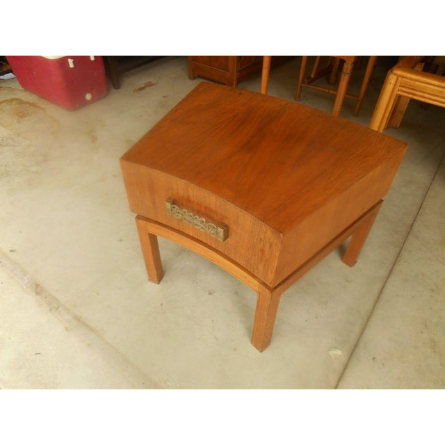 Brown Mod Floating Butcher Block Table For Sale - Image 8 of 9