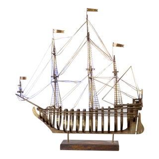 Vintage Brass Curtis Jere Ship For Sale