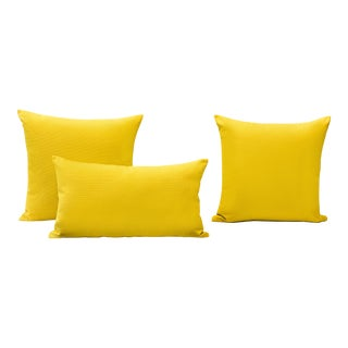 Yellow Outdoor Throw Pillows - Set of 3 For Sale