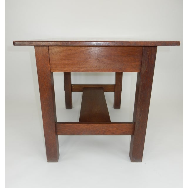 Oak Antique Signed Charles Limbert Mission Oak Library Table/ Desk For Sale  - Image 7 - Antique Signed Charles Limbert Mission Oak Library Table/ Desk