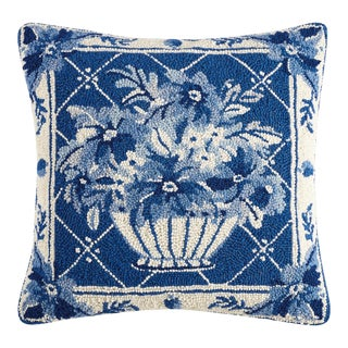"Blue Floral Hook Pillow, 18"" x 18"" For Sale"