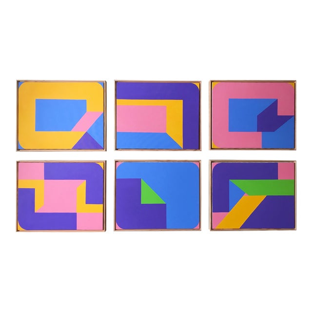 Colorful Post Modern Hard Edge Abstract Set of Six Framed Original Paintings For Sale