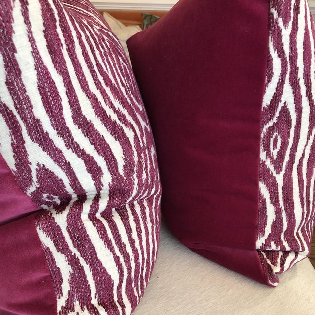 "Dark Pink Embroidered Faux Bois 22"" Pillows-A Pair For Sale - Image 4 of 7"