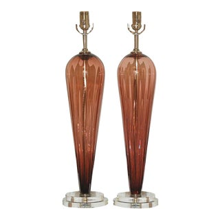 Joe Cariati Glass Table Lamps Wine For Sale
