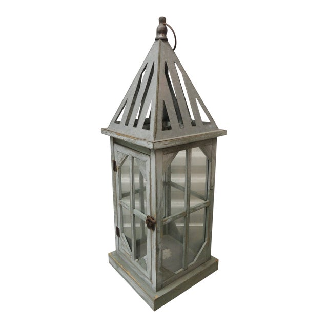 Tall Coastal Weathered Lantern For Sale