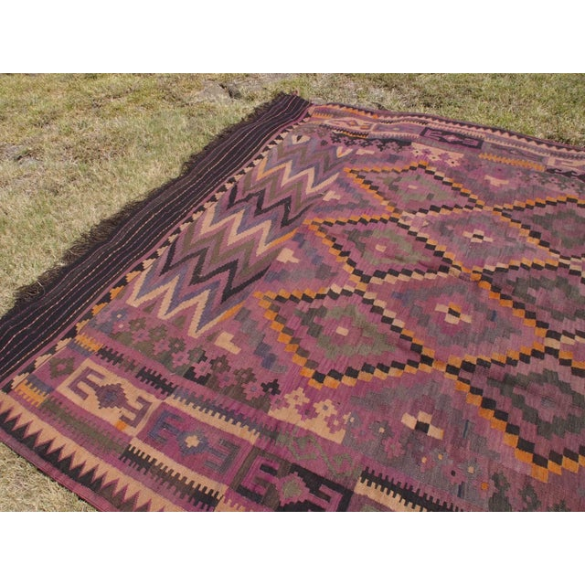 "Purple Diamond Kilim Rug - 8'8"" x 15'1"" - Image 6 of 11"