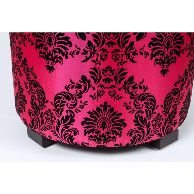 Islamic Pair of Modern Fuchsia and Black Moroccan Stools For Sale - Image 3 of 6
