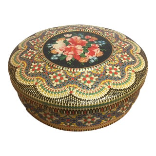 Colorful Textured Lidded Tin Container For Sale