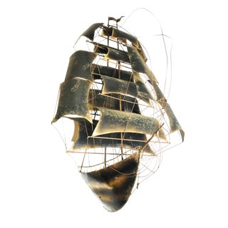 1950s Vintage Brutalist Brass Sailboat Wall-Mounted Sculpture For Sale