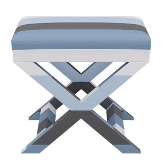X Bench in Blue Color Block Stripe For Sale