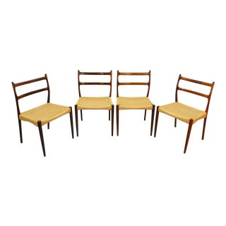 Set of Four Rosewood + Cane Dining Chairs by Søren Ladefoged For Sale